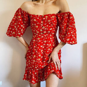Lulus Red Puff Balloon Sleeve Floral Dress